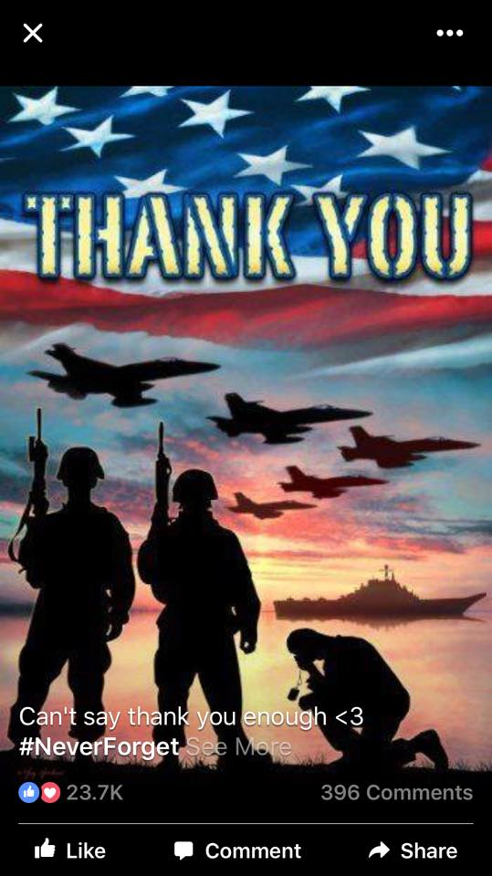 thank you card with military men and jets