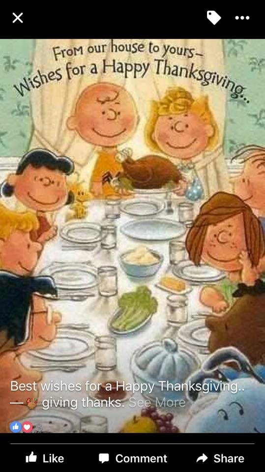 happy thanksgiving card with peanuts characters