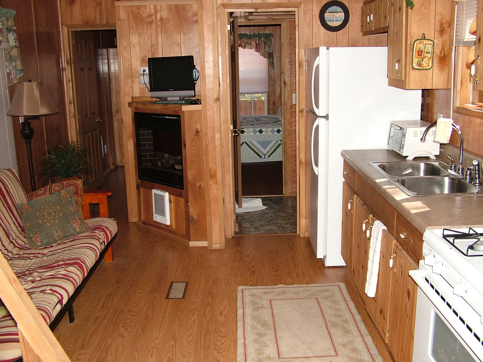 livingroom and kitchen in cabin