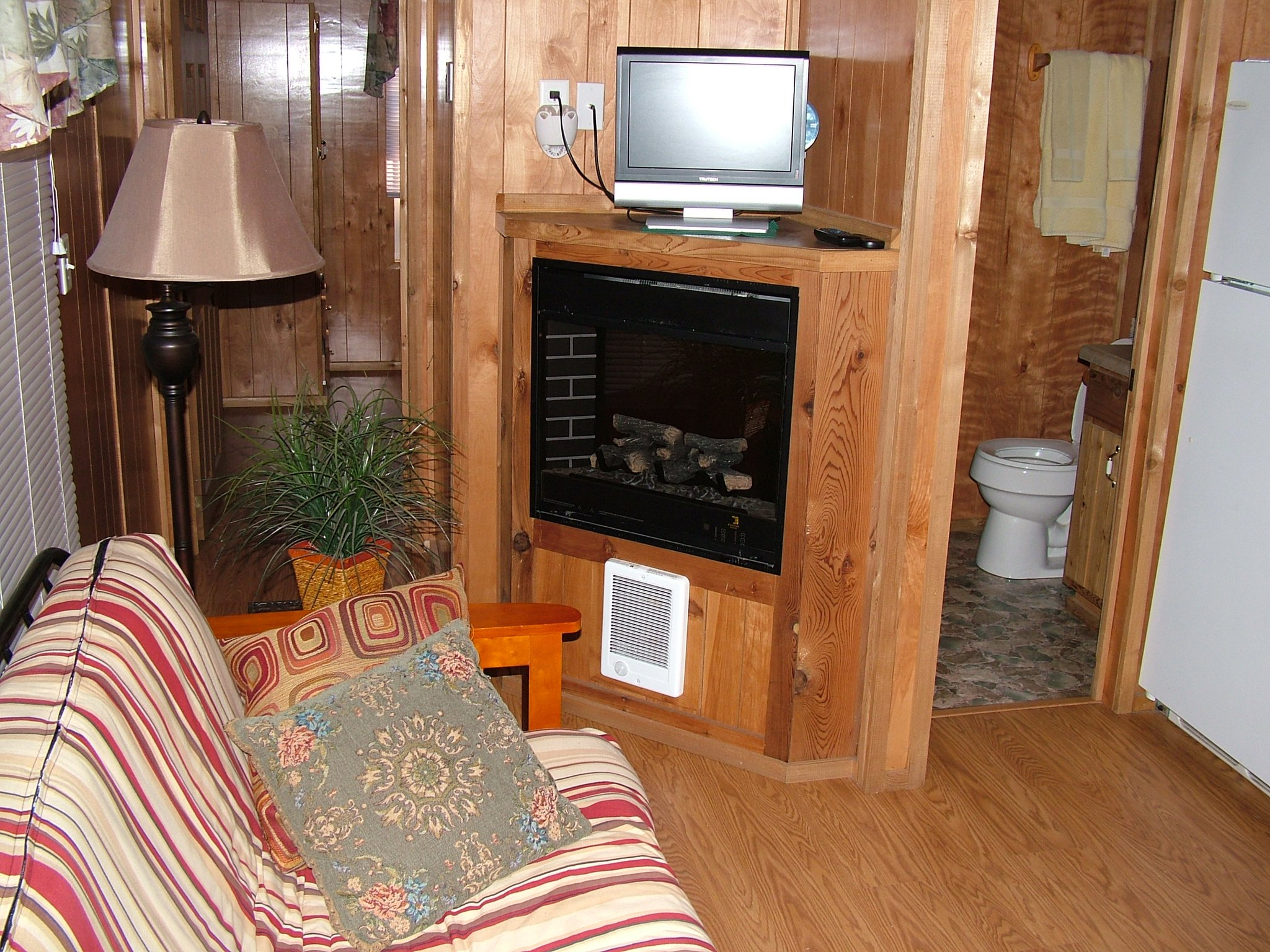 fireplace in cabin