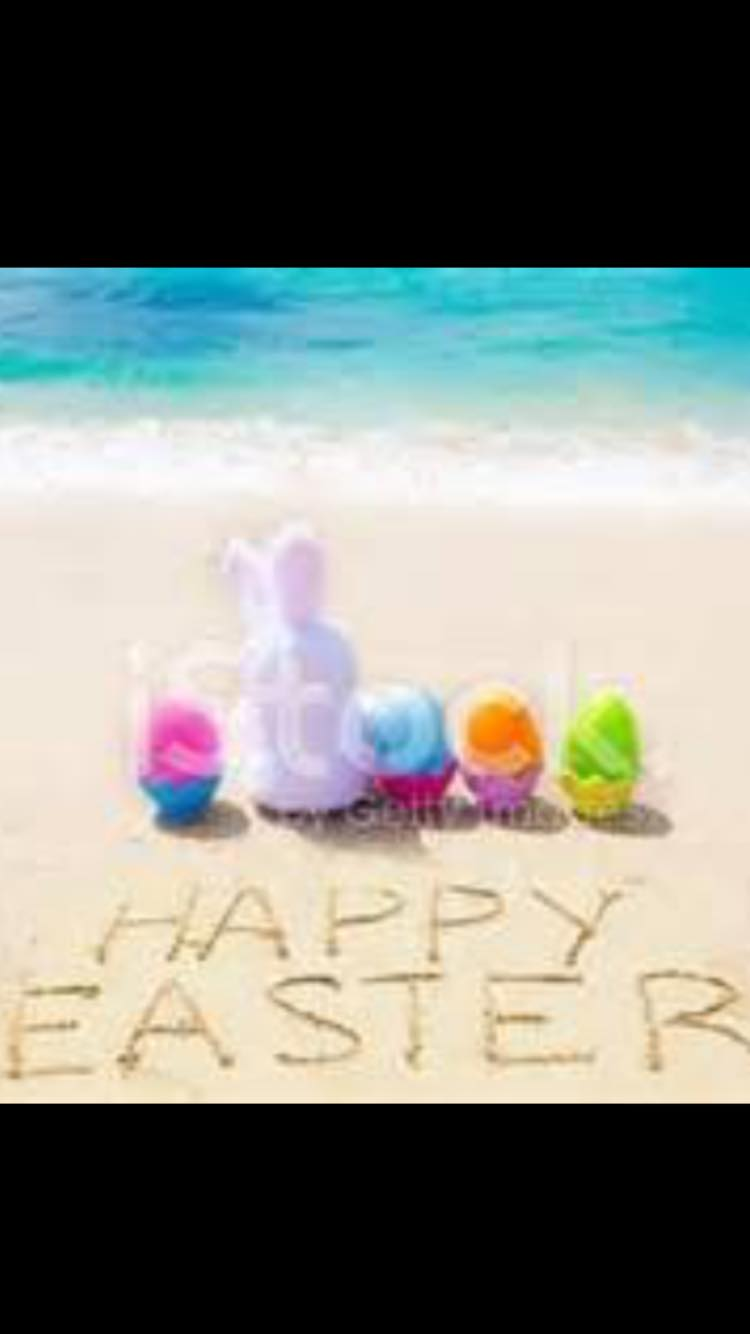 happy easter with bunny on the beach