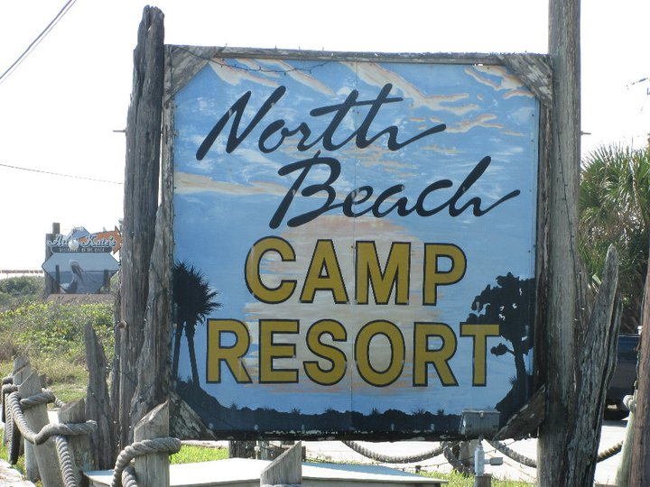 north beach camp resort sign