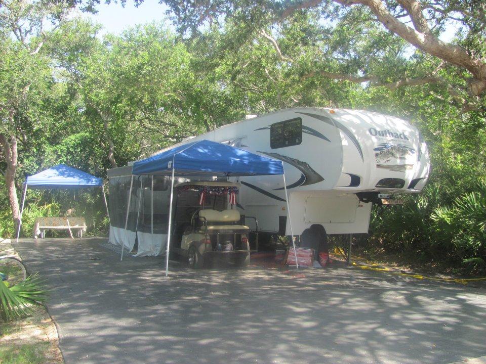 trailer on campsite