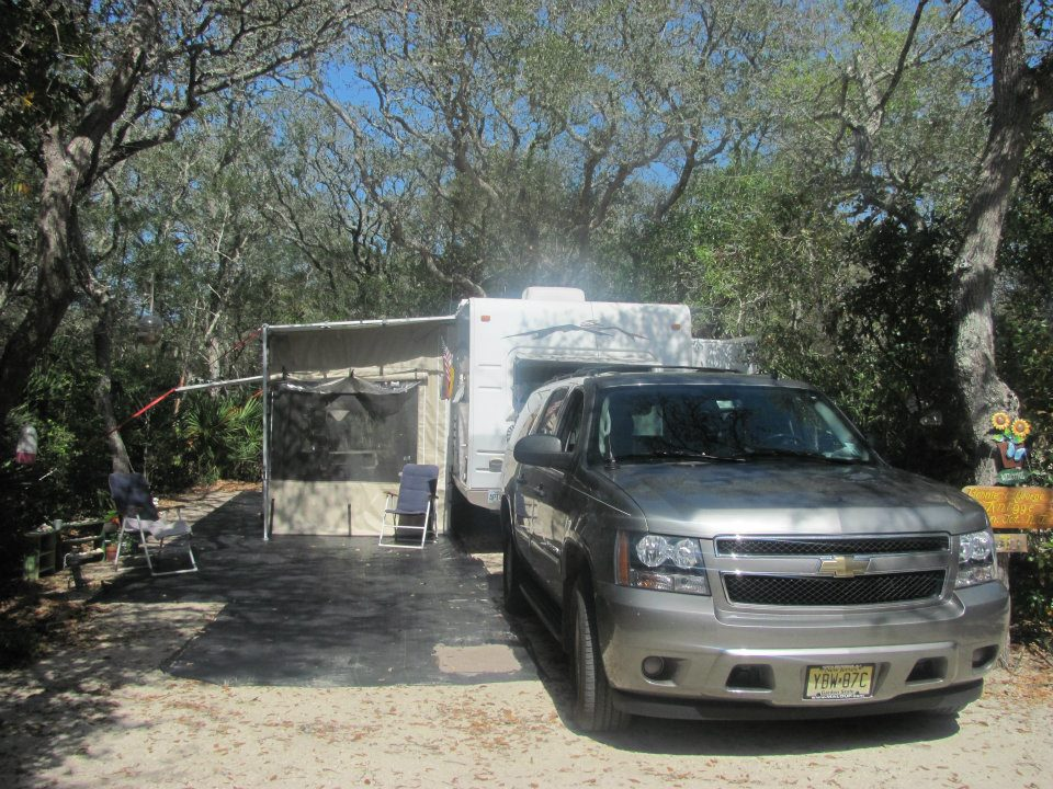 trailer on campsite