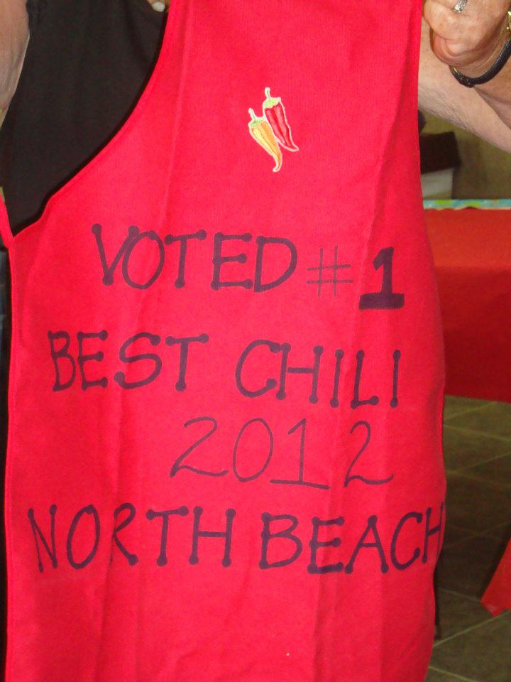 apron with saying voted #1 best chili 2012 north beach camp resort