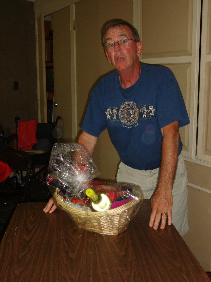 man presenting basket